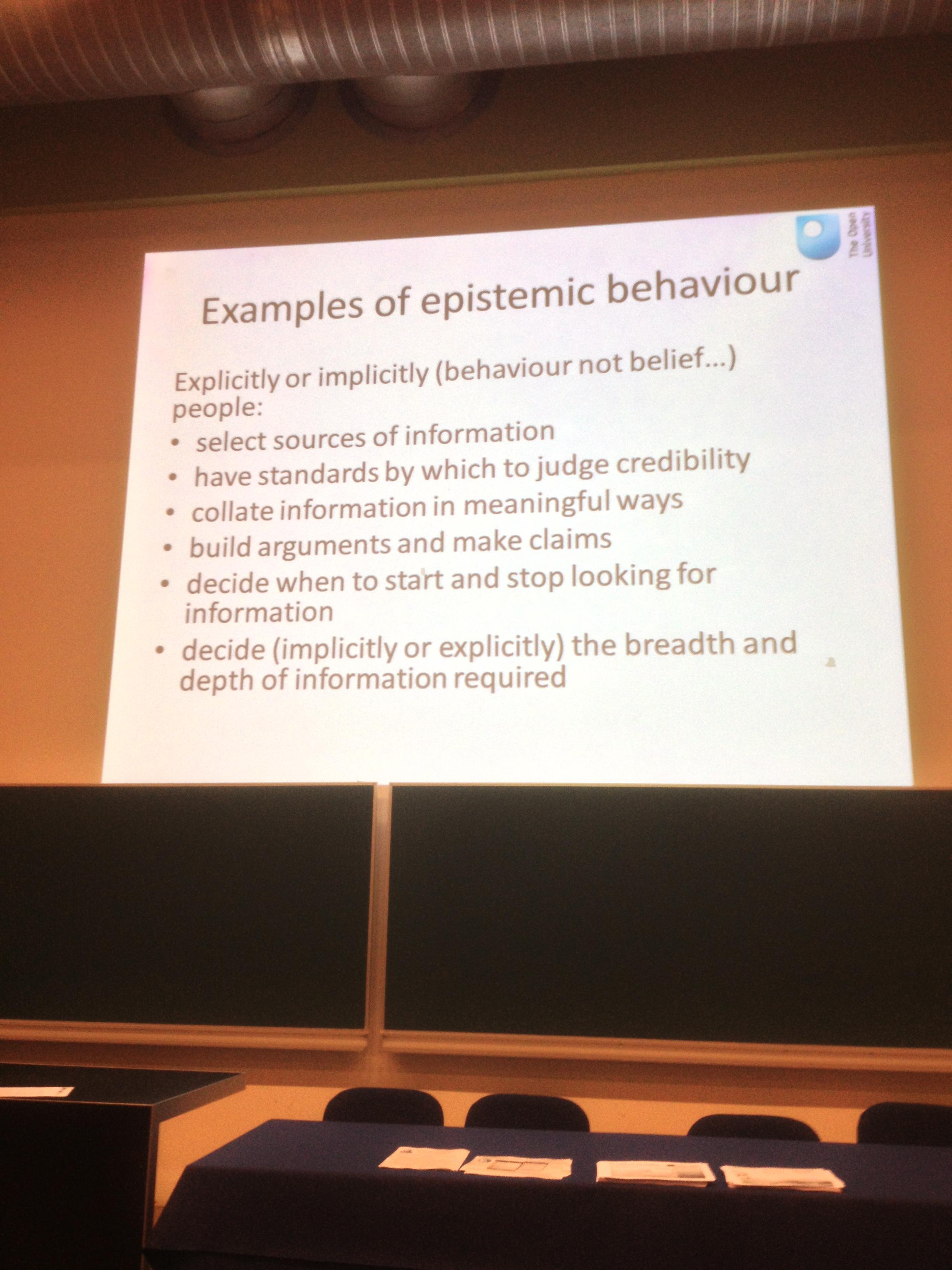 Examples of epistemilogical behaviours